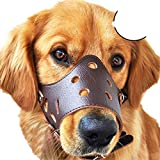 V.JUST Museruola di Cane Regolabile Anti-Mordente in Pelle Traspirante Safety Pet Puppy Muzzle Maschera per Centro Commerciale Cani di Taglia Media all'aperto,Brown,L