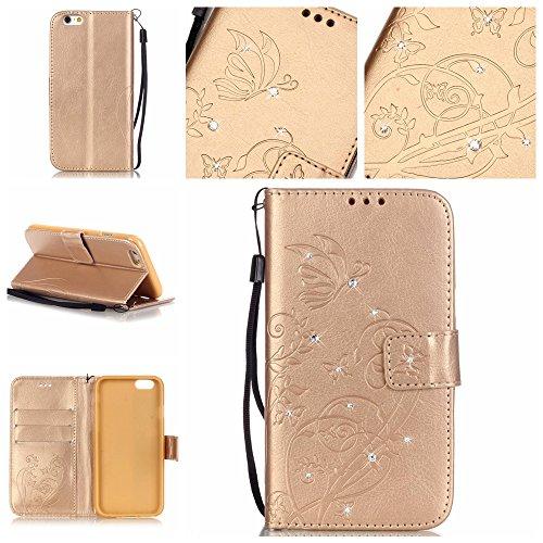 iPhone 6 6S Hülle,iPhone 6 6S Case,Cozy Hut ® Ultra Slim Flip Lederhülle / Ledertasche / Hülle / Case / Cover / Etui / Tasche für iPhone 6 6S (4,7 Zoll) / 3D Diamant Strass Bling Glitzer Schmetterling golden Diamantblumen