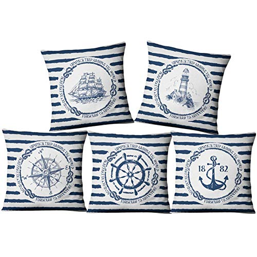 Granty 5 Pieza Azul brújula náutica océano Almohada Caso, Lino Simple Moderno sofá Almohada cojín...