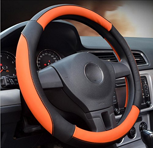 Vier-Jahreszeiten-Mikrofaser Leder Lenkradbezug Komfortable rutschfeste 36cm / 38cm / 40cm , Orange , 36cm