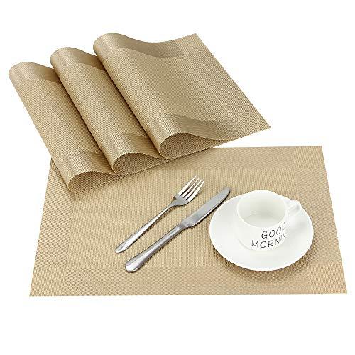 Chaochi tovagliette americana pvc set di 4 tovagliette da tavola lavabili non scivolose tovagliette in vinile facili da pulire per hotels ristorante catering 45 x 30 cm (oro)