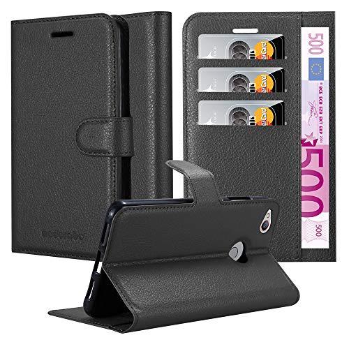 Cadorabo Hülle für ZTE Nubia Z11 Mini S - Hülle in Phantom SCHWARZ - Handyhülle mit Kartenfach & Standfunktion - Case Cover Schutzhülle Etui Tasche Book Klapp Style