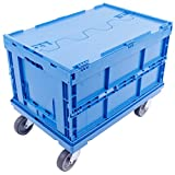 KLAPPBOX MIT DECKEL 61L + ROLLWAGEN 60x40, Transportroller für Eurobehälter, Eurobox, stabile Faltbox 60x40x32 cm, Auflast max. 300kg, blau