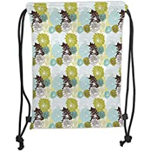 ZKHTO Drawstring Sack Backpacks Bags,Floral,Pastel Wildflowers Drawing of Foliage Leaves Nature Inspired