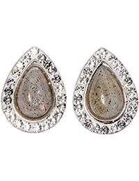 Yacq Jewelry Ohrstecker aus 925 Sterlingsilber, natürlicher Edelstein, Geburtsstein in Tropfenform