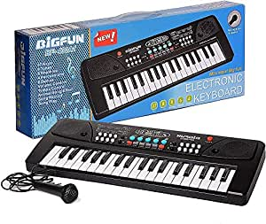 j s js 37 key bigfun piano keyboard toy for kids with mic dc power option recording charger not included best birthday gift for boys and girls 2019 latest model-Black
