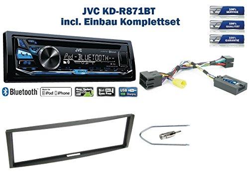 odus/Clio Bj. ab 2005 Autoradio Einbauset *Schwarz* inkl. JVC KD-R871BT und Lenkrad Fernbedienung Adapter ()