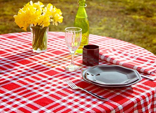 Linandelle Nappe carrée Coton Carreaux Rouge ou Bleu