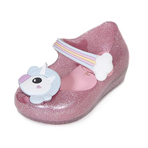 Melissa Mini Infants Ultragirl Unicorn Flat Plastic Shoe Pink Glitter-Pink-5 Size 5