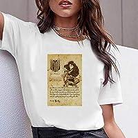 LuoMei Camiseta Estampada Blanca Jersey de Manga Corta con Cuello en o para Mujer Camiseta Estampada en Algodón Camisa con Fondo Camiseta de Verano para MujerComo se muestra, XXXL