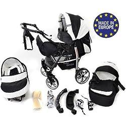 Carrito Baby Sportive - 3 en 1, RUEDAS GIRATORIAS y accesorios, color negro, blanco