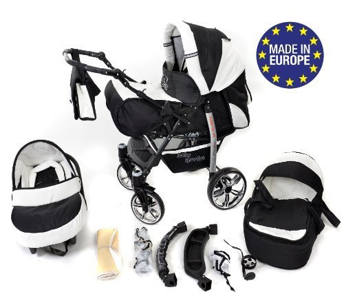 3-in-1 Travel System incl. Baby Pram with Swivel Wheels, Car Seat, Pushchair & Accessories, Black & White 51u 5T0EURL