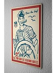Cartel de chapa Placa metal tin sign Capitán de dirección Mariscos Letrero De Metal 20X30 cm