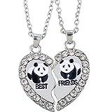 MJARTORIA Damen Kette Halskette Best Friends Gravur Panda Delphin Pinguin Herz Partner Anhänger Freundschaftsketten Silber Farbe mit Strass 2 Stück