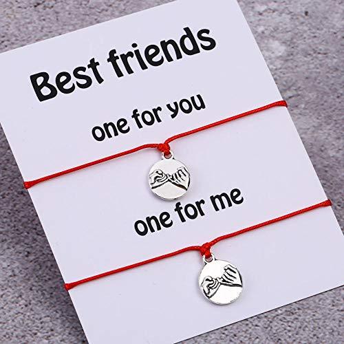 Imagen de pulsera de compromiso de los amantes de la pareja pinky de las mujeres amistad pinky jewelry best friends gift silver pendant negro alternativa