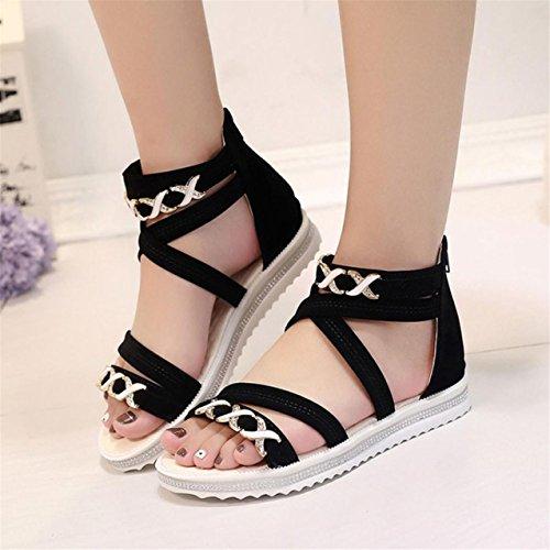 LHWY Damen Flat shoes Sommer Soft Leather leisure Ladies Sandalen Schwarz