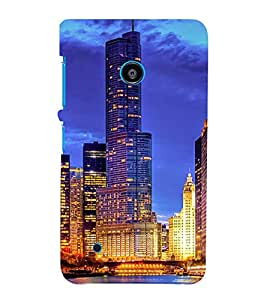 SKYSCRAPERS GLoWING WITH LIGHTS UNDER NIGHT SKY WITH THEIR REFLECTION FALLING IN LAKE WATER 3D Hard Polycarbonate Designer Back Case Cover for Nokia Lumia 530 :: Microsoft Lumia 530