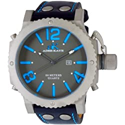 Adee Kaye Mondo G2 Herren-Armbanduhr 53.24mm Armband Kalbsleder Schwarz Gehäuse Edelstahl Quarz AK7211-MT