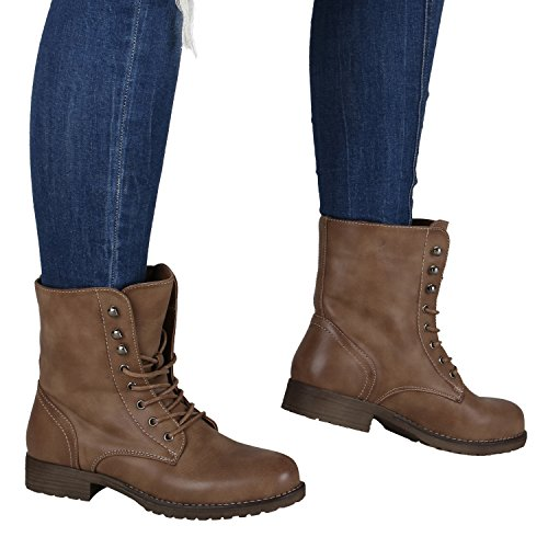 Damen Stiefeletten Profilsohle | Worker Boots Leder-Optik | Schnürstiefeletten Camouflage | Schuhe Verlours Hellbraun
