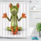 LB Tier Duschvorhang Zen Frosch. Tropische, Umwelt Gemusterte Polyester Stoff Bad Vorhänge Wasserdicht Anti-Schimmel Bad Dekor Wohnaccessoires mit 12 Vorhang Haken 180x200cm