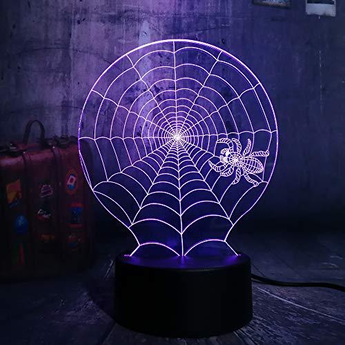 Lustre Hot 3D Halloween Gruselszene Led Nachtlicht Spinnennetz Spinnennetz Schreibtischlampe Horror Wohnkultur Kind Weihnachtsgeschenk