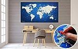 Weltkarte XXL 130 x 70 cm Zum Pinnen, World Map Aus Edlem Vlies Als Pinnwand Mit 20 Pins / Fähnchen