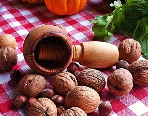 Meggy's Nussknacker rund aus Olivenholz, mit Schraubgewinde