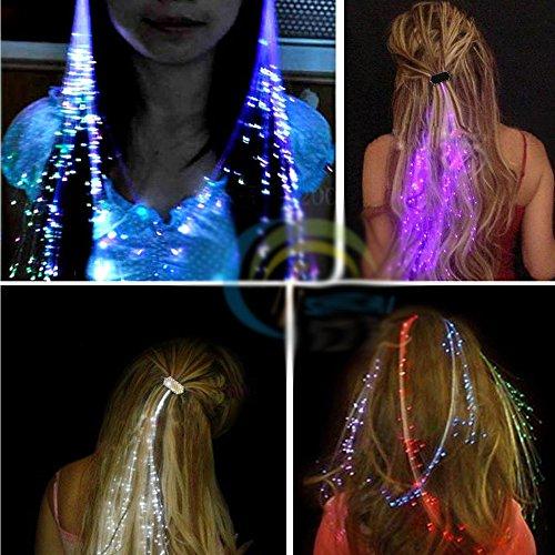 Leuchtende Led Haar Zöpfe 10er Set- Très Chic Mailanda LED Haarsträhnen Glühwürmchen Rainbow Fasching (Halloween Haar)