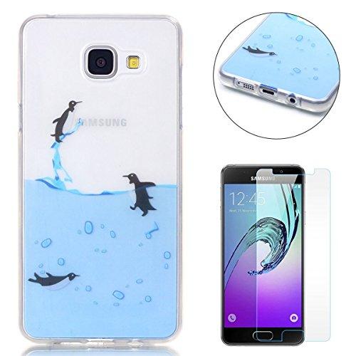 Coque Samsung Galaxy A3 2016/A310F Housse Silicone de Gel [Gratuit Protections D'écran],CaseHome Clear Ultra Slim Transparente Antichoc Doux Protecteur TPU Mode Motif-Manchot en Volant