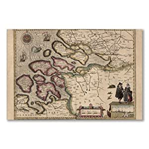 Affiche :  Carte PROVINCIE ZEELAND HOLLAND ANTIQUE A1 maxi 61 x 91,5 cm x 36 en du 24 Papier photo brillant)