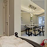 ufengke® 6 Piezas Cuadrado Efecto de Espejo Pegatinas de Pared Diseño de Moda Etiquetas del Arte Decoración del Hogar Plata