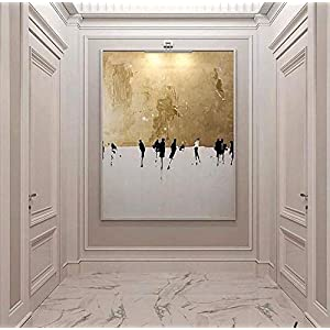 Orlco Art Hand-Painted High Quality Abstract Wall Art Oil Painting on Canvas Abstract Gold and White Oil Painting for Living Room 32x48inch