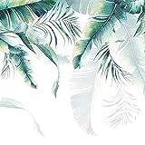 LONGYUCHEN Personalizado Papel Tapiz Mural De Seda 3D Planta Patrón De Hoja De Plátano De Palma Adecuado Para El Dormitorio Sala De Estar Tv De Fondo Decoración De La Pared Mural,300Cm(H)×420Cm(W)
