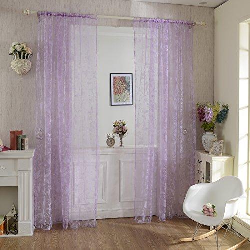 Vorhang Transparent, Lommer 2er 200x100CM Gardinen Set Beflockung Fenstersiebung Voile Schlaufenschal Tüll Fenster Vorhang Garn für Schlafzimmer und Wohnzimmer, Schmetterlingsmuster (Lila)