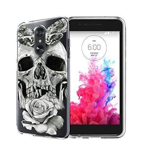untouchble Schutzhülle für LG Aristo 2, LG Tribute Dynasty, LG Fortune 2Fall, LG Rebel 3LTE Slim Case [Flex Max] Slim Flexible Gel Fall Bump und Drop Schutz, Rose Petal Skull -