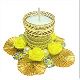 Tea Light Candles For Home Decoration | Standing Pearl White Floating Candle Diya Hand Made Tea Light Wax Candles | Best For Diwali, Gift, Pooja Decorative Candles (Roses Are Yellow)