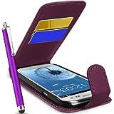 Supergets Hülle für Samsung I9300 Galaxy S III S3 Imitat Leder Tasche Hülle Schale in Lila, Eingabestift, Schutzfolie, Zubehör Set
