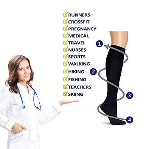 MIXSNOW 6 Pairs of Unisex Compression Socks (15-20mmHg) for Running, Nurses, Shin Splints, Travel, Flight, Pregnancy & Maternity Black