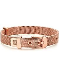 Rafaela Donata Damen-Armband Armband - Gürtel rosevergoldet - Länge flexibel verstellbar 14.5 bis 19cm Edelstahl- 60917062