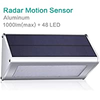 GIARIDE 48 LED 1000 Lumen Exterior Luz Pared Solar Jardin Iluminación Lámparas Solares Aplique con Sensor de Movimiento Impermeable Foco Solar para Jardin, Escaleras, Patio, Balcon, Cerca, Garaje