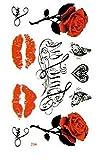 4 Feuilles Fleurs papillon cœur lèvres Tatouage Autocollant Ephémère étanche Tatouages Temporaires,motifs variés
