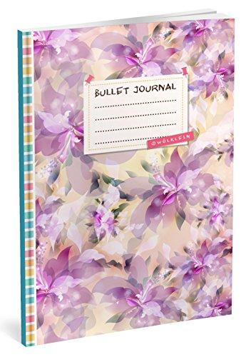 Bullet Journal: Punktraster Notizbuch (Ca. A5) + 100 Seiten + Vintage Softcover | TOP Motiv: Lila Blumen | Dot Grid Journal, Kalligraphie Übungsheft, Punktpapier +++ Jetzt mit Register +++