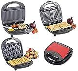 3 in 1 Sandwichmaker/elektrisches Waffeleisen/Kontaktgrill als Sandwichtoaster, Paninigrill oder Waffelautomat (Rot)