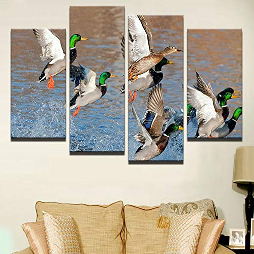 WSNDGWS HD Inkjet Cuatro Figuras Animal Parrot Bird Pintura Decorativa Pintura Artesanal para el hogar Sin Marco E3 40x80x2 40x100x2