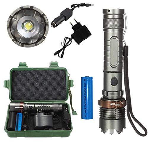 Super Helle Taschenlampe 3000LM T6 LED Taschenlampe High Power LED Zoomable taktische Taschenlampe + 18650 Ladegerät Box