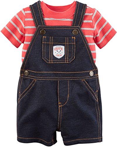 Carters's Kurze Latzhose + T-Shirt Sommer Set Baby Junge Shorts Outfit Boy (0-24 Monate) (6 Monate, rot/schwarz) Carters Shirt