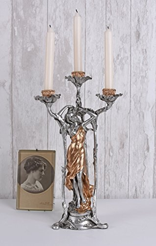 Kerzenleuchter Frauenfigur Kerzenhalter Jugendstil Kerzenständer Antik Palazzo Exklusiv