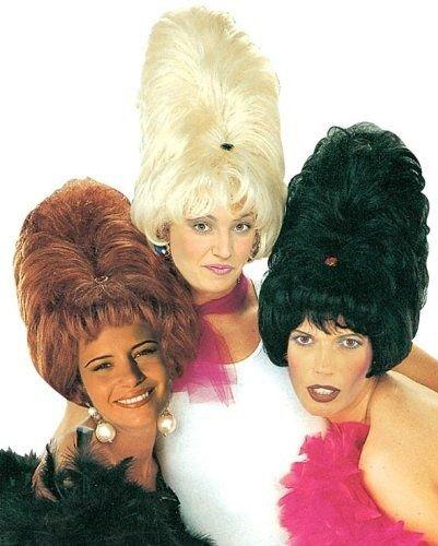 Trumpet Monkey Retro-Perücke für Damen, Beehive, Wolkenkratzer-Frisur, schwarz, Hochfrisur, als Kostüm-Zubehör für Fasching und Karneval