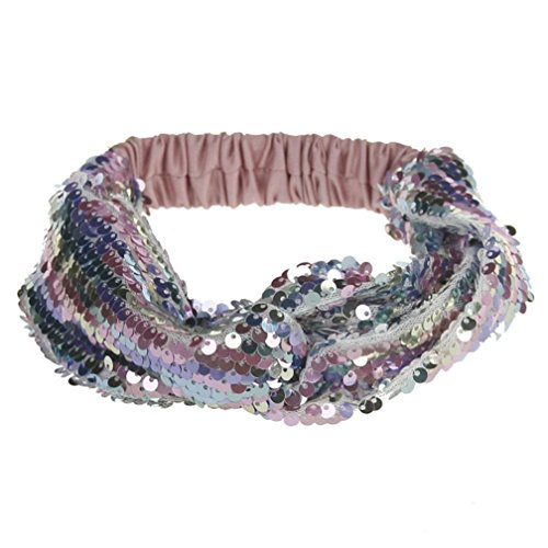 VENMO Frauen doppelte Farbe Pailletten Yoga Stirnbänder Elastische Run Kopf Haar Zubehör Glitzer Haarband mit Schleife in Metallic Streifen Optik, Stirnband, Headband Stirnbänder (Pink)