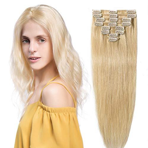 45cm-55cm 8pz capelli veri umani naturali estensione clip testa completa set parrucca donna bionda